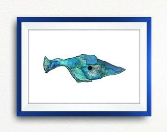 Watercolor Fish Nursery Wall Art Decor, Fish Printable, Boys Room Wall Poster, Marine Animal Art, Sea Nursery Art, Childrens Home Decor