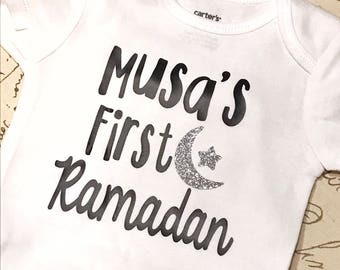 First Ramadan with name baby bodysuit, eid onesie, ramadan onesie, muslim baby, islamic holiday, eid gift, ramadan gift, islamic gift, musli