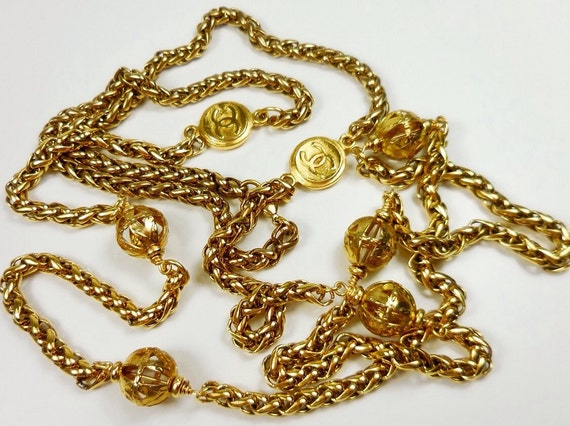 Vintage XL size baroque glass pearl chain necklace, gold plated long chain necklace, nice weight