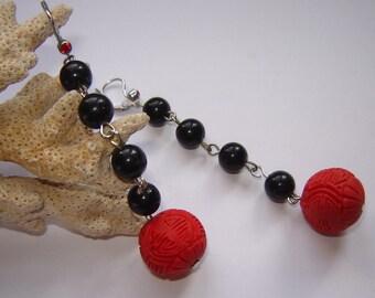 Hanging earrings - original art deco - 8.5 cm long