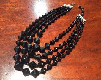 Japan 4 Strand Black Glass Choker Necklace 50's