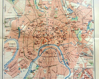 1904 Antique Map engraving of Moscow city, 110 years old vintage print, original plan color lithograph, Russia  plate.