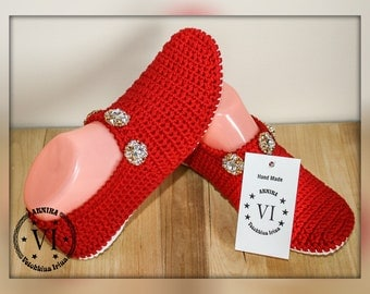 Womens Slip-on/ Shoes summer/ Shoes Slip on/ Womens Shoes/ Red Shoes/ Knitted Shoes/ Hand knitShoes/ Hand made to Order/ Knitting for Womens