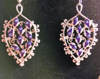 Silver and Blue sheild Earrings