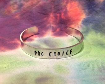 Pro Choice Tall Text Bracelet - Pro Choice Bracelet - Feminist Bracelet