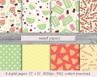 DIGITAL PAPER SWEET  pattern  instant download  milk white  pink  turquoise yellow