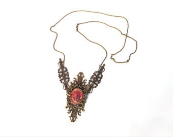 "Unique Necklace ""Fire Flower"", Red Gold Bronze, Steampunk, Burlesque Collar, Victorian, Goth Necklace, Brass Metal, Ornaments, Statement"