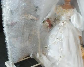 Vintage Geppeddo Porcelain Wedding Doll/ with Mirror, (# 1107/83)