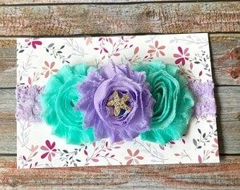 Lavender & Aqua Headband/First Birthday Headband/1st Birthday/Baby Headband/Girls Headband/Toddler Headband/Newborn Headband/Infant Headband