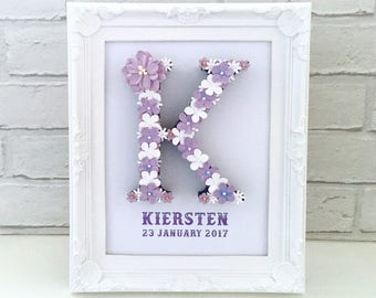 Large letter frame, Framed baby name, Gift for sister, Nursery decorations, Toddler gift, First birthday gift, Welcome to the world gift