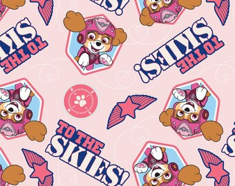 """End of Bolt, Pink Paw Patrol Pup to the Skies Cotton Fabric from the Paw Patrol Collection by David Textiles 31""""x44"""""""