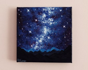 Milky Way painting Night sky Oil painting on canvas Starry sky Small Galaxy painting Home decor Space star Cosmos gift idea FREE SHIPPING