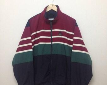 Vintage Izod Windbreaker/Izod Striped Jacket/Colorblock/Red Green Dark Blue/Hip Hop Swag/Size M
