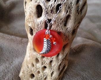 Round Orange Cultured Sea Glass Necklace