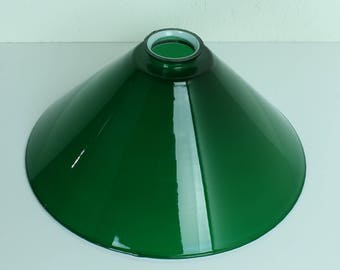 Vintage lamp shade - vintage glass cone lamp shade - cone shaped lamp shade - green lamp shade