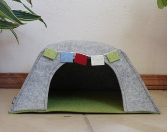 Kitty Yurt - Cat Yurt - Cat House - Cat Pod - 100% Wool Felt Cat Cave with Removable Flags. Minimalist Red OR Grey Cat House.