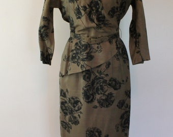 Vintage 1940s Brown Floral Dress - Belted, Peplum, 40s Dress - by De De Johnson - Size Small, Medium