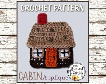 006 - Cabin Applique Crochet PATTERN, Instant Download