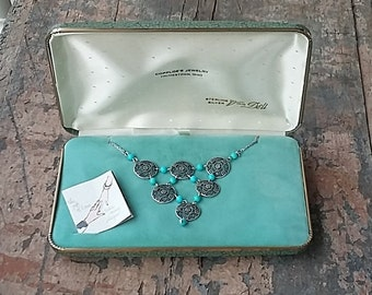 New Vintage Van Dell Sterling Silver Necklace Filigree Medallions, Turquoise Beads