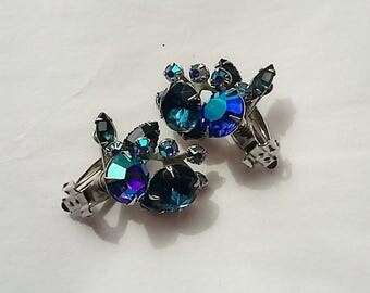 Wonderful Pair of Iridescent, Shades of Blue, Beau Jewels Clip Earrings, Jewelry