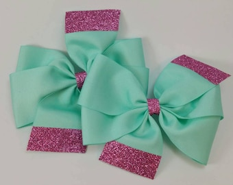 Teal and pink pinwheels, pig tale bows, pig tail set, hair bows, oversized bows