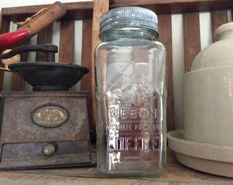 Vintage Blue Ribbon coffee advertising glass jar storage container kitchen decor