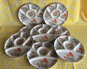 Vintage mid century floral pattern divided fondue plate set of 4