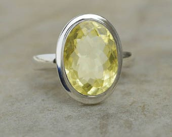 Oval Cut Lemon Topaz Ring, Sterling Silver Ring Handmade Jewelry,  Bezel Ring,  Stackable gift ring, Lemon Topaz Yellow Gold Ring Jewelry