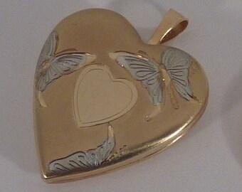 14K Yellow Gold Heart Shape Locket W/Butterflies