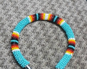 "Handmade Native American Beaded Rope Bracelet. Size 8 1/2""."