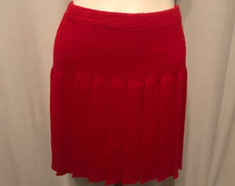 1970's Vintage Red Pleated Sweater Skirt, School Girl