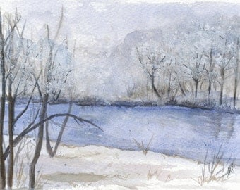 "Winter Watercolor Landscape Print - Christmas Print 5"" x 7"""