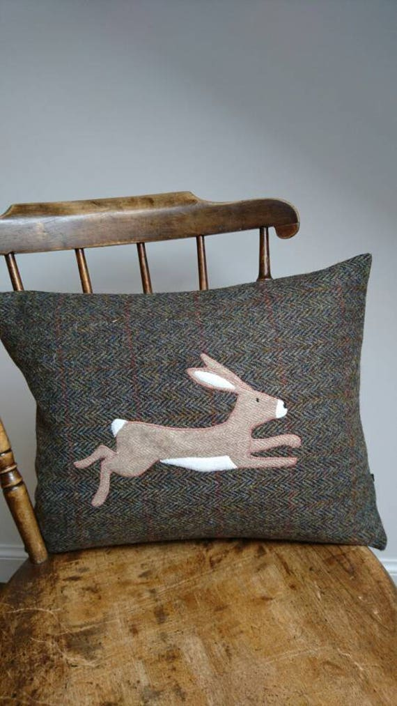 Hand Crafted Harris Tweed Hare Cushion Cover