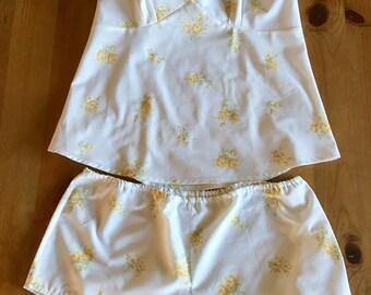 Lounge set, camisole set, shorts set, vintage fabric pajamas, vintage pajamas, shorts set, gift for her, christmas gift,