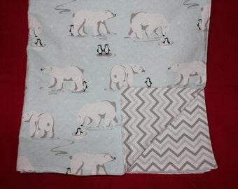 Baby Flannel Blanket, Baby Blanket, Penquins, Polar Bear, Polar Bear and Penquins Blanket