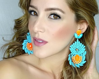 Big Turquoise Earrings, Jewelry For Daughter, Drop Earrings, Chandelier Earrings, Long Earrings, Dangle Earrings, Christmas Gift For Her