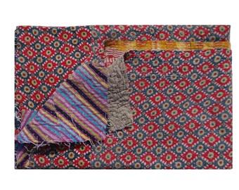 Vintage Beach Throw,Reversible Vintage Kantha Quilt ,Twin Size Blanket ,Cotton Gudri , Tapestry #108