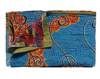 Handmade Sari Quilt,Reversible Vintage Kantha Quilt ,Twin Size Blanket ,Cotton Gudri , Tapestry #108