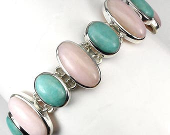 182.00ct Handmade Pink Opal Amazonite Bracelet .925 Sterling Silver 8 inches
