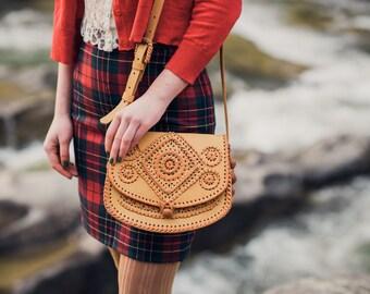 Tan Leather Shoulder Bag - Crossbody Bag - Handbag - Ethnic Bag - Messenger Bag- Ladies Handbag - Women bag - Woman Handbag - evening bag