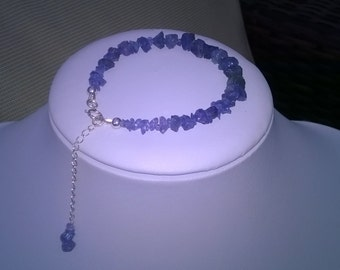 NEW - Rough Tanzanite and sterling silver bracelet