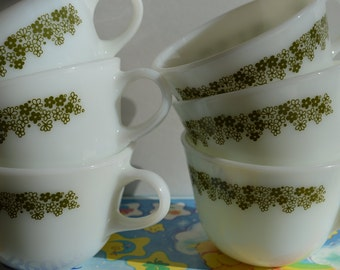 Set of Six Pyrex White with Green Flowers Coffee Cups