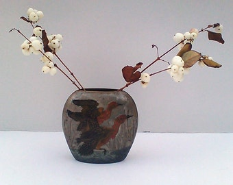 Enameled brass vase