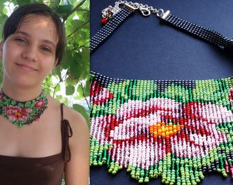 bead necklace, tea rose necklace, beadwork necklace, fringe necklace, seed bead choker necklace native american style
