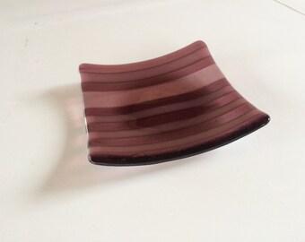 Striped purple fused glass bowl