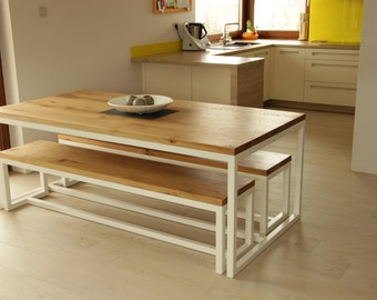Oak/steel dinning table and benches - SOLD