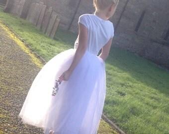 Handmade tulle skirt for girls, flower fairy, bridesmaid, parties