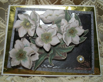 NEW YEARS BLOSSOMS - designer handcrafted 3D greeting card