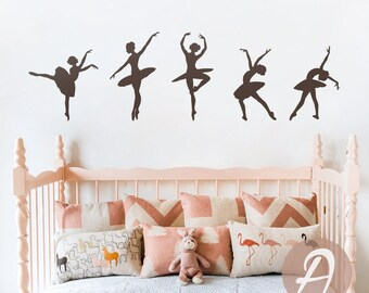 Ballerinas Wall Decal - Dancing Ballerinas Wall Sticker - Dancer Wall decal - Home decor - Nursery  vinyl wall decal Removable decal -AI015