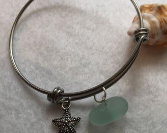 Seaglass Bracelet with Starfish Charm